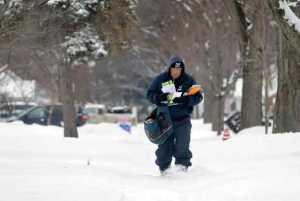 Postal Worker in Snow
